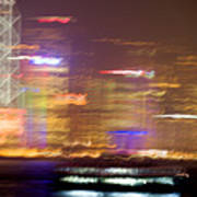 Hong Kong Harbor Abstracted Poster