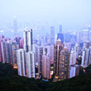 Hong Kong Skyline Poster by Ray Laskowitz - Printscapes