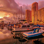 Honolulu Waterfront Oahu Poster