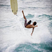 Hookipa Maui Flying Surfer Poster by Denis Dore