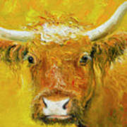 Horned Cow Painting Poster