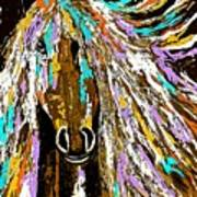 Horse Abstract Brown And Blue Poster