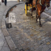 Horse And Carriage On Cobblestoned Alvarez Quintero Street In Th Poster