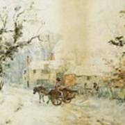 Horse Drawn Carriage In The Snow Poster