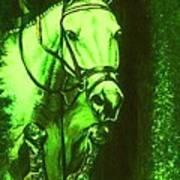 Horse Painting Jumper No Faults Deep Greens Poster