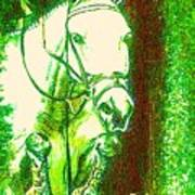 Horse Painting Jumper No Faults Green With Reds Poster