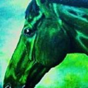 horse portrait PRINCETON blue green Poster