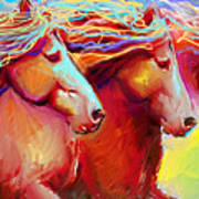 Horse Stampede Painting Poster