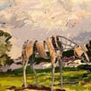 Horse Statue In The Field Poster
