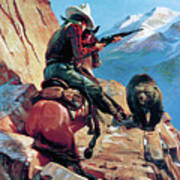 Horseman And Bear Poster by H G Edwards