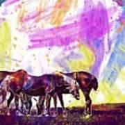 Horses Flock Pasture Animal  Poster