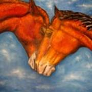 Horses In Love.oil Painting Poster