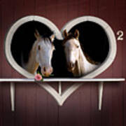 Horses In Stable Poster