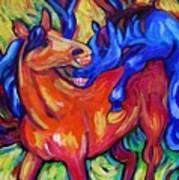 Horses Playing Poster