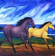 Horses Running On The Beach Poster