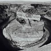 Horseshoe Bend In Black And White Poster