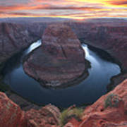 Horseshoe Bend Sunset Poster by Loree Johnson
