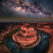 Horseshoe Bend With Milkyway Poster