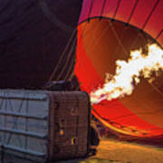 Hot Air Balloon. Inflation. Poster