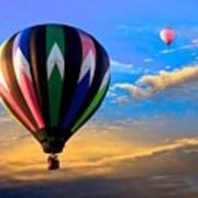 Hot Air Balloons At Sunset Poster