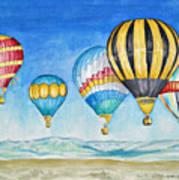 Hot Air Balloons Over Sandia Poster