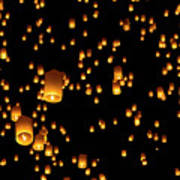 Hot Air Lanterns In Sky Poster