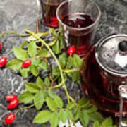 Hot Rosehip Tea In Glass Poster