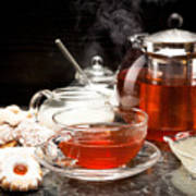 Hot Steaming Tea With Christmas Biscuits Poster