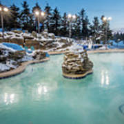 Hot Tubs And Ingound Heated Pool At A Mountain Village In Winter Poster