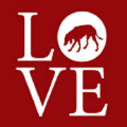 Hound Dog Love Red Poster