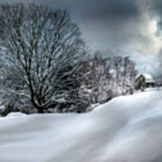 House On The Hill Winters In Vermont Poster
