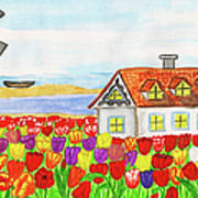 House With Tulips  In Holland Painting Poster