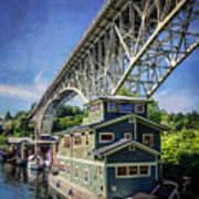 Houseboat And Aurora Bridge Seattle Poster