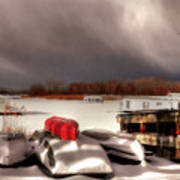 Houseboats In Winter Poster