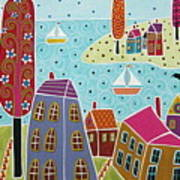 Houses Trees And Sailboats By The Bay Poster