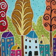 Houses Trees Birds Painting By Karla G Poster
