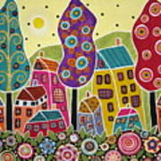Houses Trees Flowers Poster