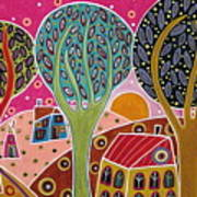Houses Trees Whimsical Landscape Poster