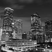Houston By Night In Black And White Poster