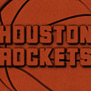 Houston Rockets Leather Art Poster