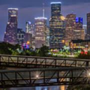 Houston Skyline Over Buffalo Bayou At Twilight Poster