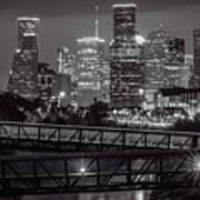 Houston Skyline With Rosemont Bridge In Bw Poster