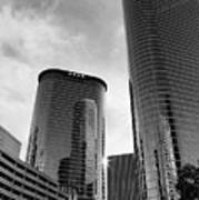 Houston Skyscrapers Black And White Poster