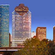 Houston Texas Skyline At Dusk Poster