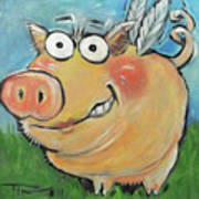 Hovering Pig Poster