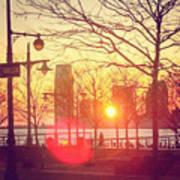 Hudson River Winter Sunset Poster