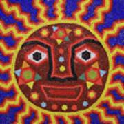 Huichol Beadwork Sun Mexico Poster