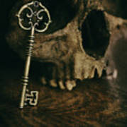 Human Skull With Vintage Key Poster