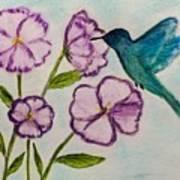 Hummingbird Blue Poster