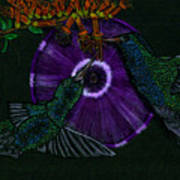Hummingbird Morning Glory Poster
